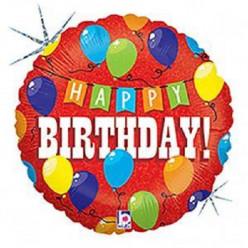 Balão Foil Holográfico Happy Birthday Party 46cm