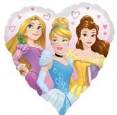 Balão Foil metálico formato coração das Princesas Disney - 43cm