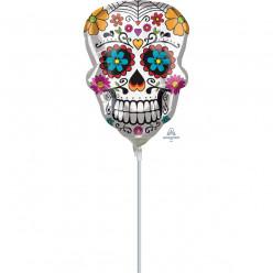 Balão Foil Mini Shape Caveira Dia dos Mortos Halloween 35cm
