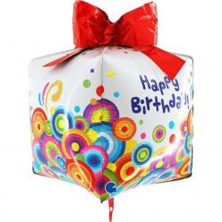 Balão Foil Presente Happy Birthday 4D - 76cm