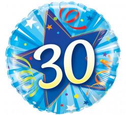 Balão Foil Redondo 30 anos Azul 46cm