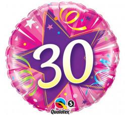 Balão Foil Redondo 30 anos Rosa 46cm