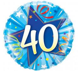 Balão Foil Redondo 40 anos Azul 46cm