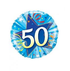 Balão Foil Redondo 50 anos Azul 46cm