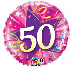 Balão Foil Redondo 50 anos Rosa 46cm