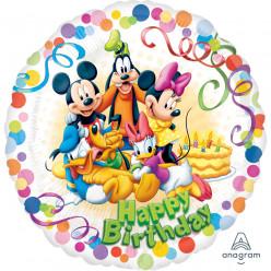 Balão Foil Redondo Happy Birthday Mickey e Amigos 43cm