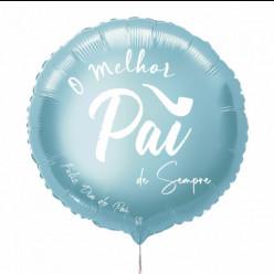 Balão Foil Redondo Melhor Pai Azul Claro 43cm