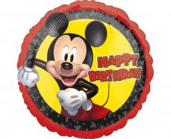 Balão Foil Redondo Mickey Happy Birthday 43cm
