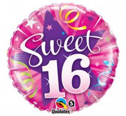 Balão Foil Redondo Sweet 16 Rosa 46cm