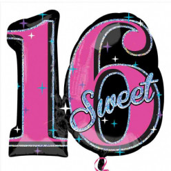 Balão Foil Sparkle Super Shap Sweet 16 Years 28