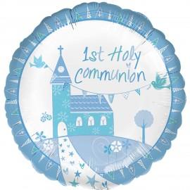 """Balão Foil standard 1 Comunhão Igreja Azul 18"""""""