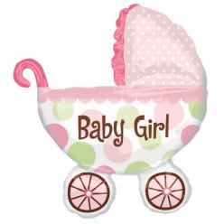 Balão Foil Supershape Carrinho Bebé Menina
