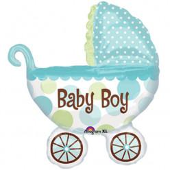Balão Foil Supershape Carrinho Bebé Menino