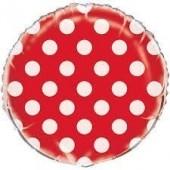 Balão Foil Vermelho bolinhas 45 cm