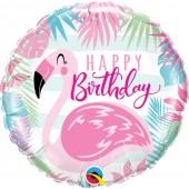 Balão Happy Birthday Pink Flamingo 18