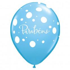 "Balão Látex 11"" Parabéns Azul"