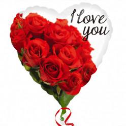 Balão Metálico Rosas Coração 43cm