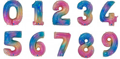 Balão Número Rainbow 86cm