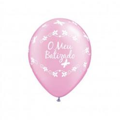 """Balão O Meu Batizado Rosa 11"""""""