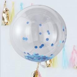 Balão Orb com Confettis Azuis 3 unid