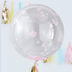 Balão Orb com Confettis Rosa 3 unid