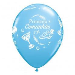 """Balão Primeira Comunhão Azul 11"""""""
