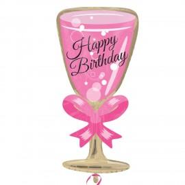Balão Shape Foil Copo Rosa Happy Birthday
