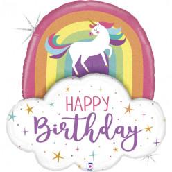 Balão Supershape Unicórnio Arco Íris Happy Birthday 89cm