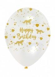 """Balões Happy Birthday Unicórnio Sparkle 12"""" - 6 und"""