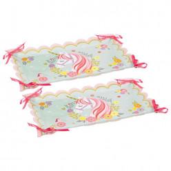 Bandejas de papel mágicas do unicórnio 2 unid