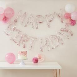 Banner Balões Confetti Happy Birthday Rose Gold