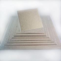 Base Bolos Quadrada Prateada 12.5x12.5cm