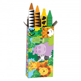 Caixa c/ 4 lápis cera Animais da Selva