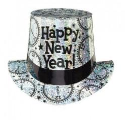 Chapéu Happy New Year Prata Holográfico