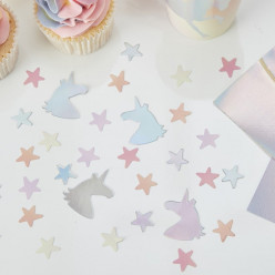 Confetis Unicórnio + Estrelas Iridescentes