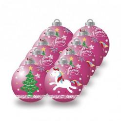 Conjunto 10 Bolas Natal Rosas Unicórnio