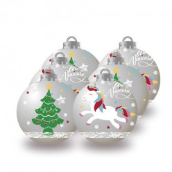 Conjunto 6 Bolas Natal Prateadas Unicórnio
