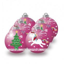 Conjunto 6 Bolas Natal Rosas Unicórnio