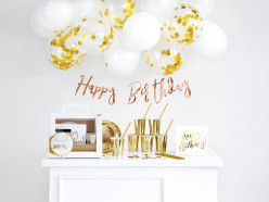 Conjunto Decoração Festa - Happy Birthday Dourado