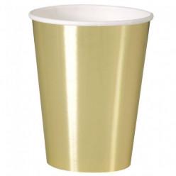 Copos Papel Dourado Metalizado - 8 Und