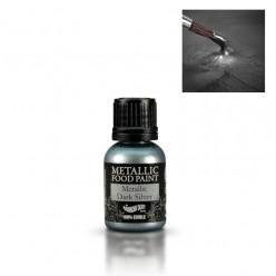 Corante Liquido Metalizado Prata Escuro 25ml Rainbow