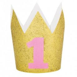 Coroa Glitter Dourada Nº1 Rosa