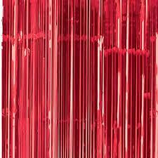 Cortina Porta Metalizada Vermelha