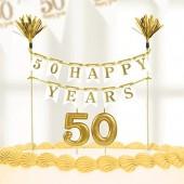 Decoração de aniversário Dourada para bolo + velas 50 anos