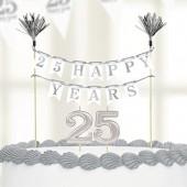 Decoração de aniversário Prateado para bolo + velas 25 anos