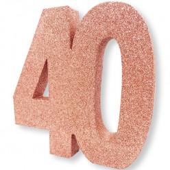 Decoração de Mesa 40 Anos Rose Gold com Glitter