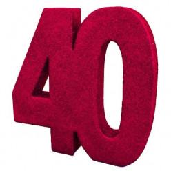 Decoração de Mesa 40Anos Vermelho c/ Gliter