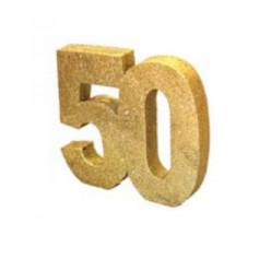 Decoração de Mesa 50 Anos Dourado c/ Gliter