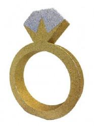Decoração de Mesa Anel Dourado/Prateado com Gliter