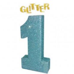 Decoração Mesa Glitter Azul Número 1